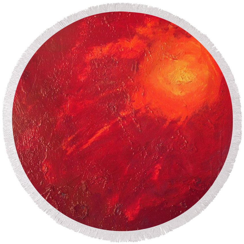 Abstract Round Beach Towel featuring the painting Sunset by Vesna Antic