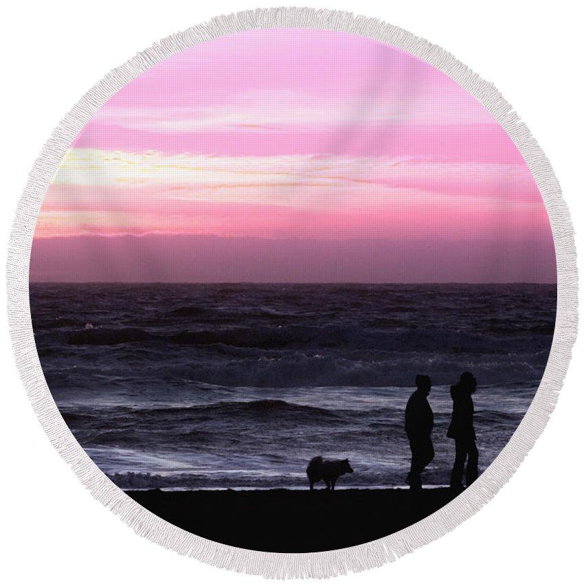 Nature Round Beach Towel featuring the photograph Sunset Walk by John K Sampson