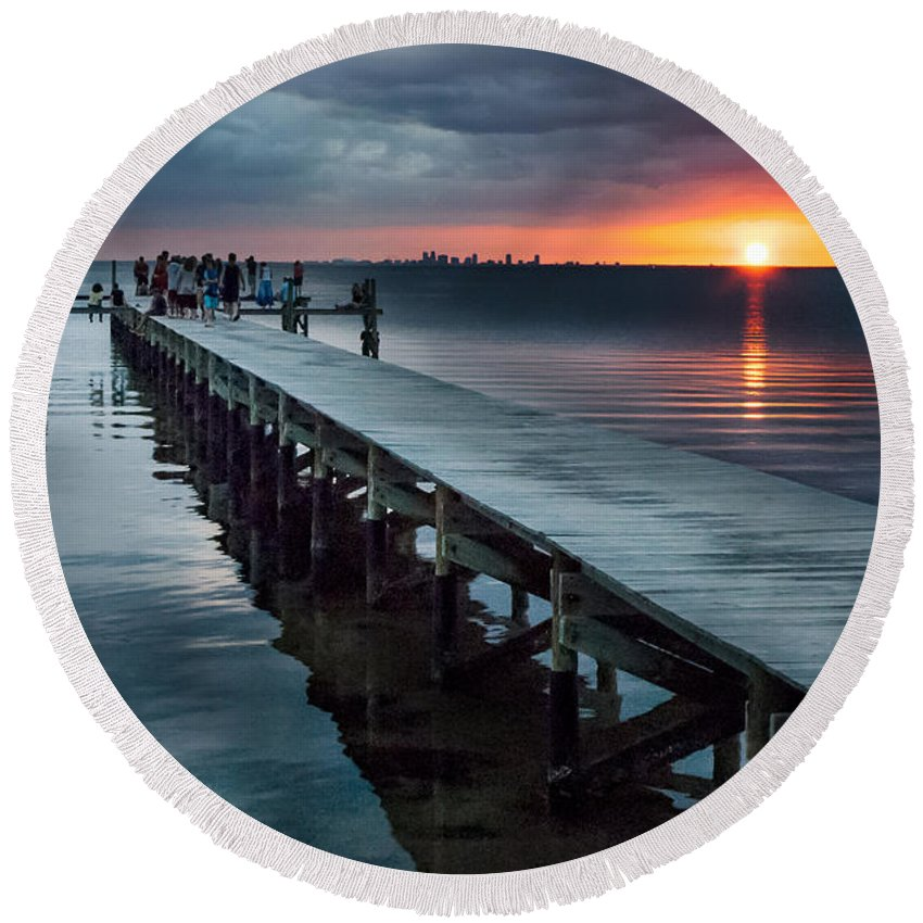 Sunset Round Beach Towel featuring the photograph Sunset Watch by Norman Johnson