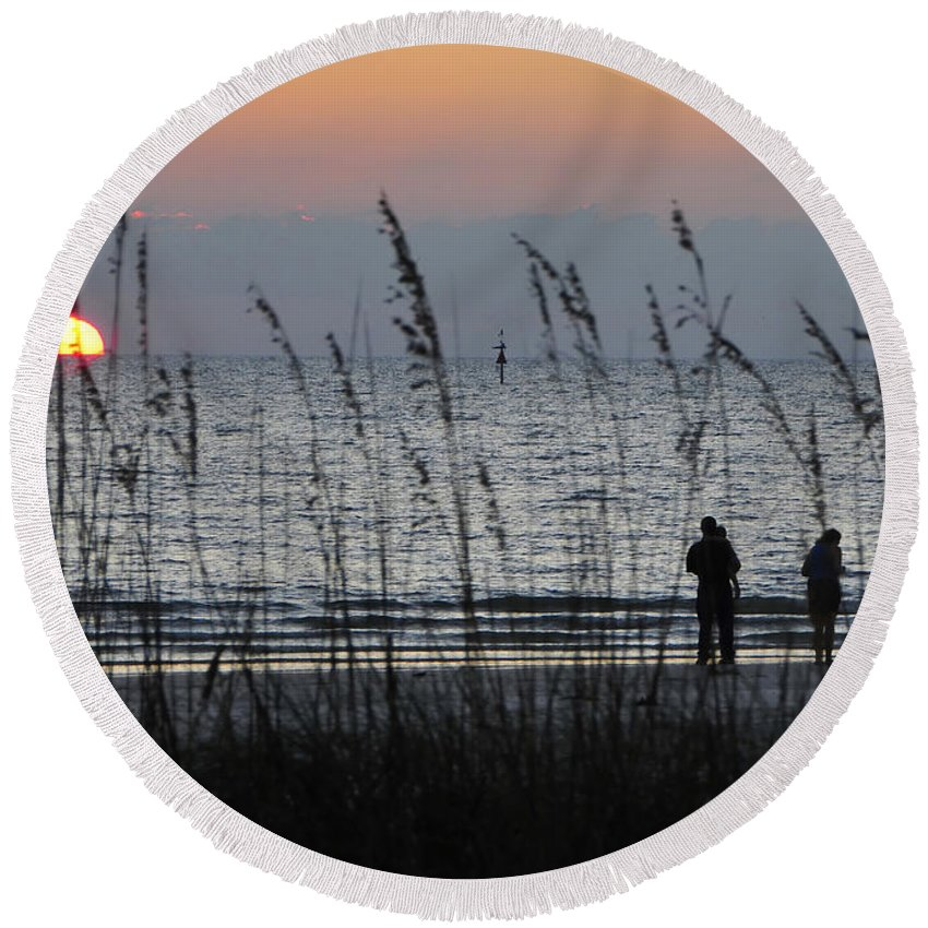 Sunset Round Beach Towel featuring the photograph Sunset Watching by David Lee Thompson