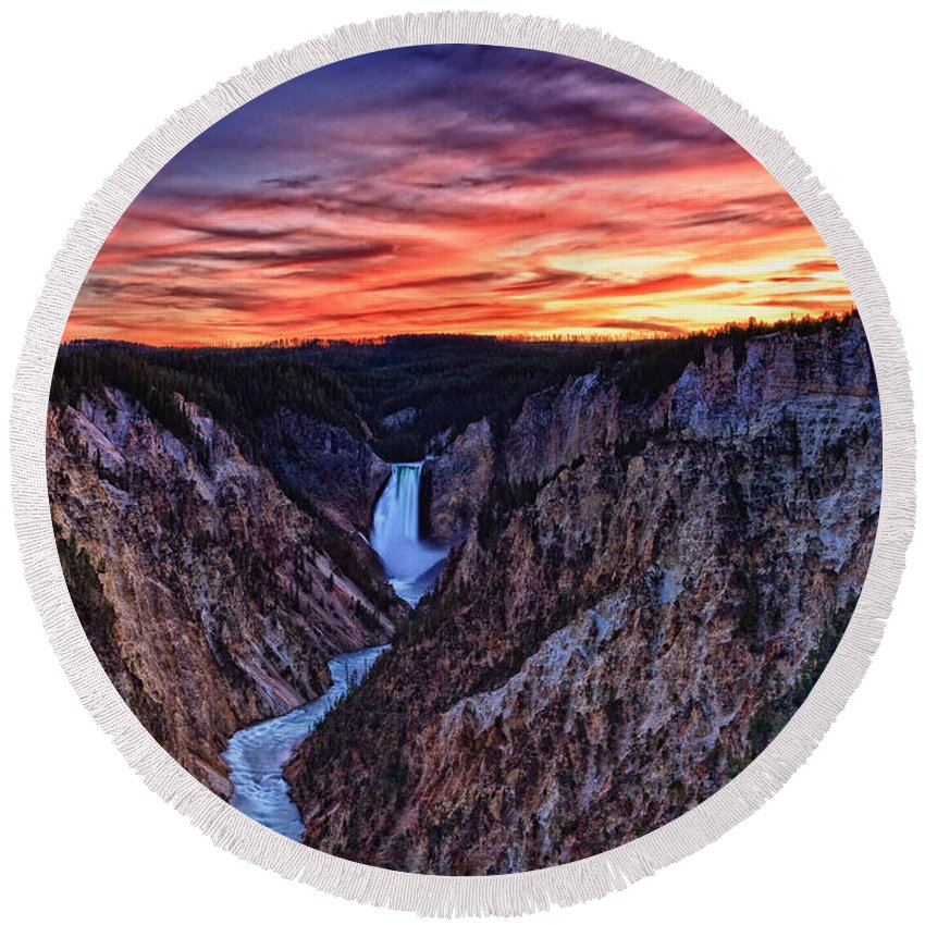 Nature Round Beach Towel featuring the photograph Sunset Waterfall by John K Sampson