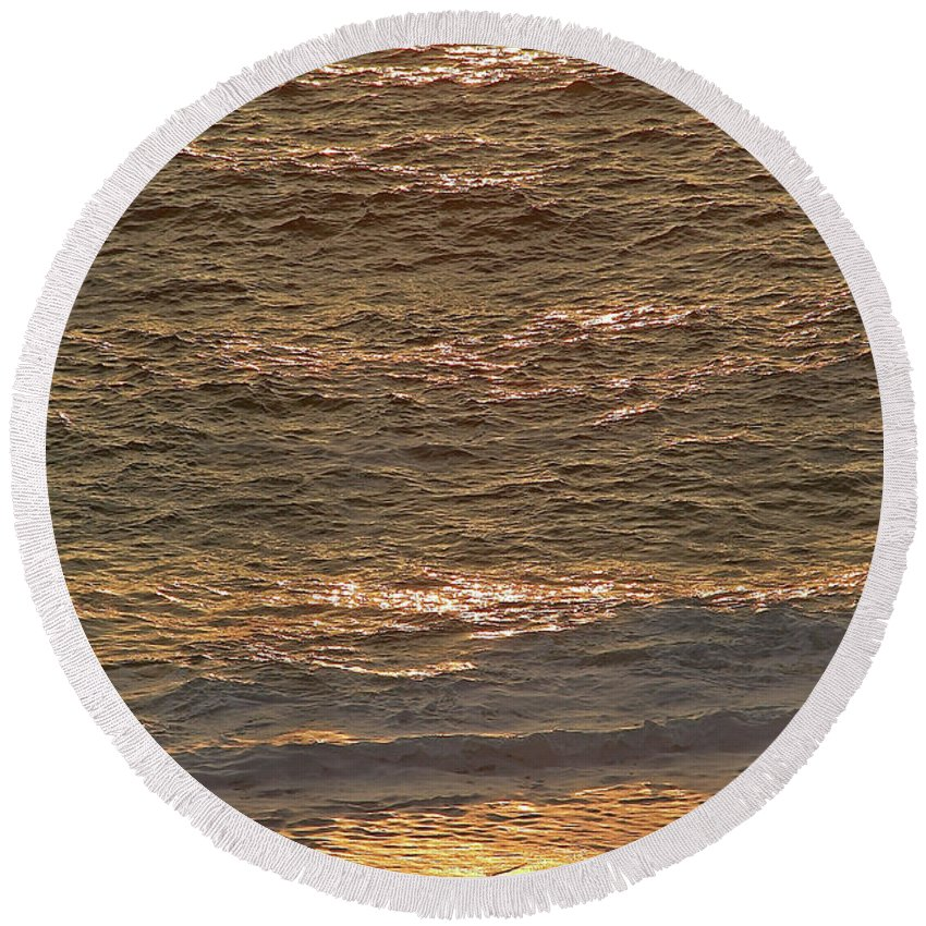 Golden Round Beach Towel featuring the photograph Sunset Waves Over Carmel Beach by Charlene Mitchell