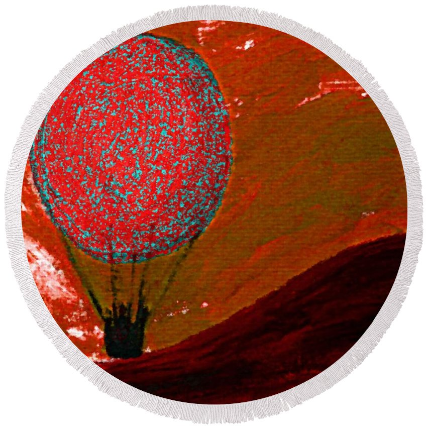 Sunset Round Beach Towel featuring the mixed media Sunset With Red Hot Air Balloon. by Lenka Rottova