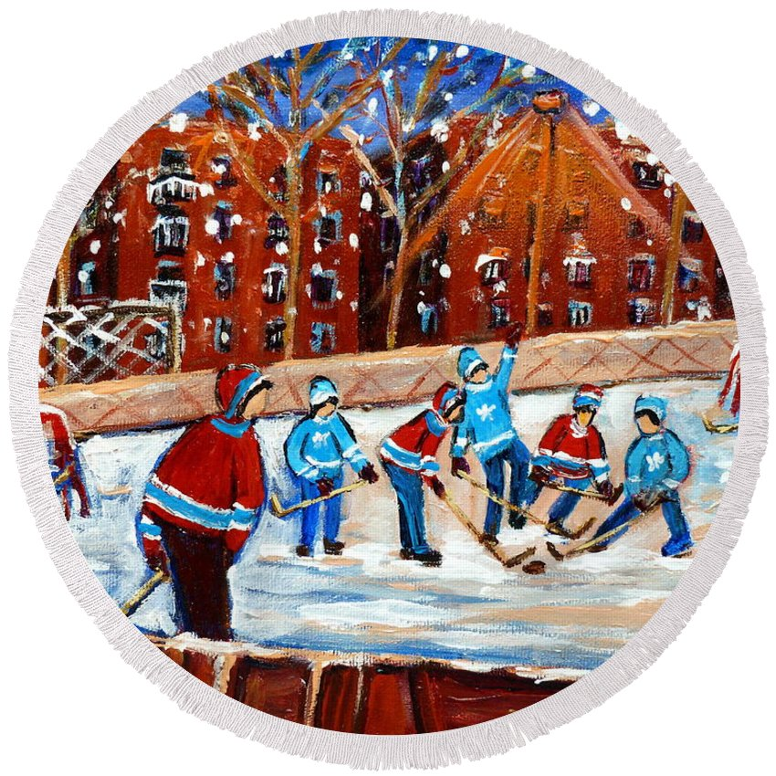 Kids Playing Hockey Round Beach Towel featuring the painting Sunsetting On My Street by Carole Spandau