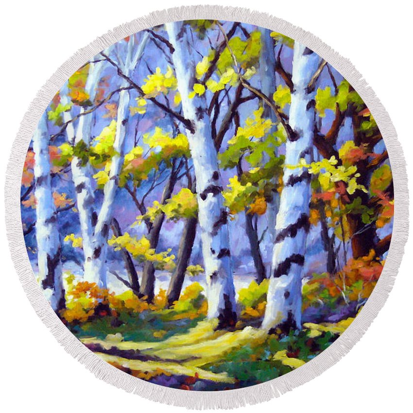 Art Round Beach Towel featuring the painting Sunshine And Birches by Richard T Pranke