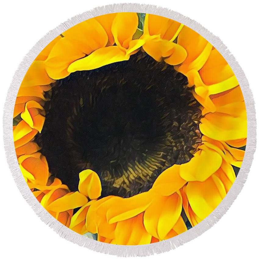 Sunflower Round Beach Towel featuring the photograph Sunshine On My Mind by Jessica Manelis