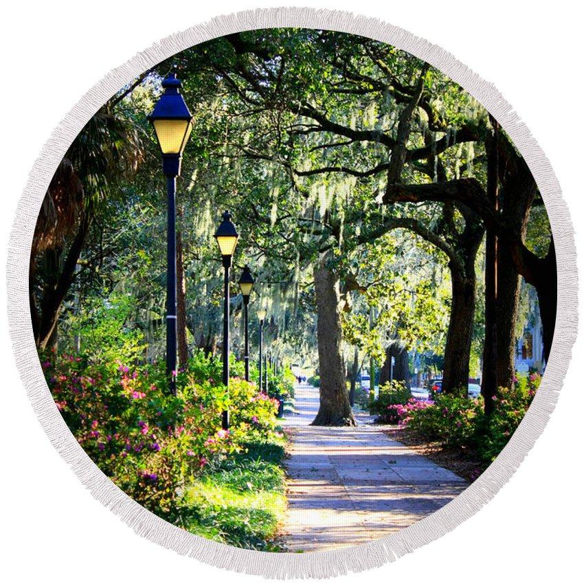 Savannah Round Beach Towel featuring the photograph Sunshine On Savannah Sidewalk by Carol Groenen