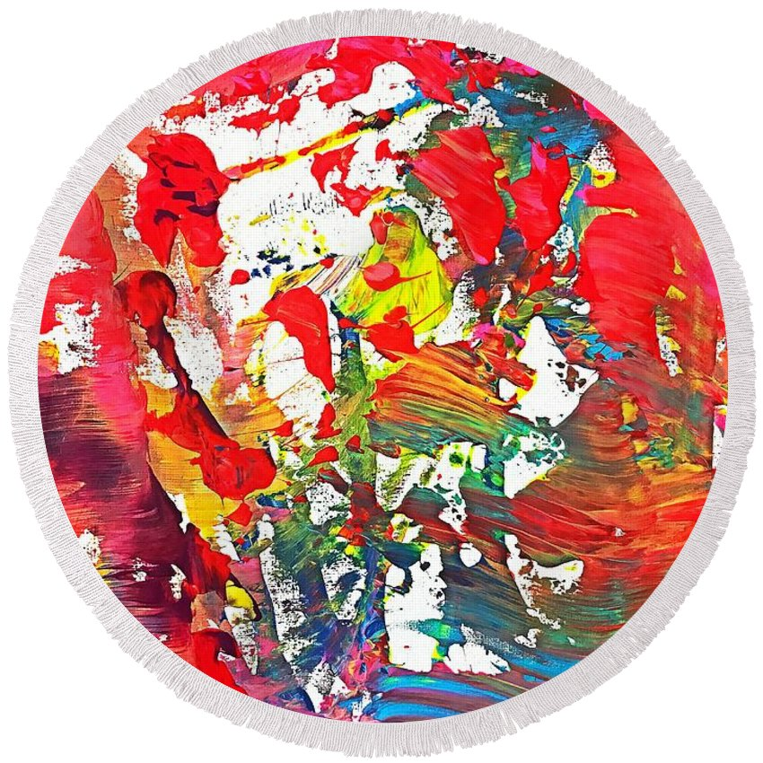 Round Beach Towel featuring the painting Sunshine by Shahrzad Khosravi