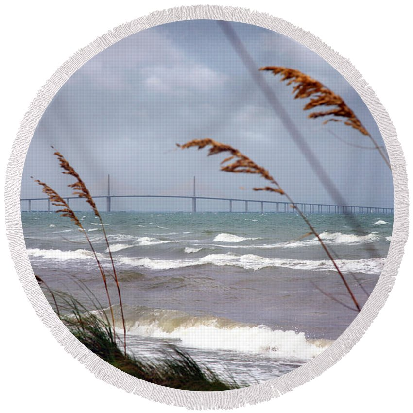 Sunshine Round Beach Towel featuring the photograph Sunshine Skyway Bridge Viewed From Fort De Soto Park by Mal Bray