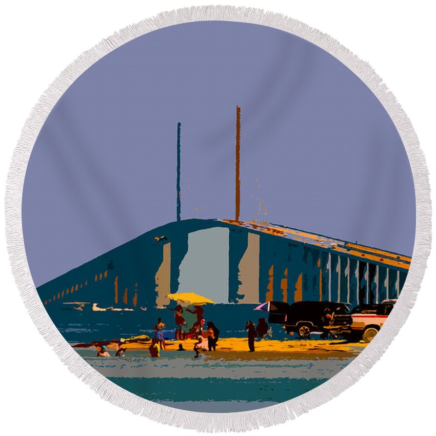 Sunshine Skyway Bridge Round Beach Towel featuring the photograph Sunshine Skyway by David Lee Thompson