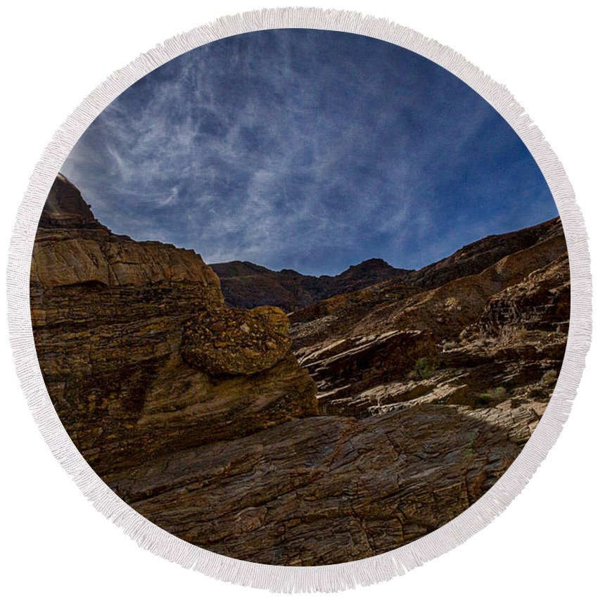 Death Valley Round Beach Towel featuring the photograph Sunstar Over Mosaic Canyon - Death Valley by Stuart Litoff