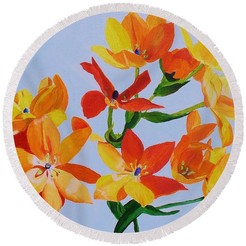 Flowers Round Beach Towel featuring the painting Sunstar by Rodney Campbell