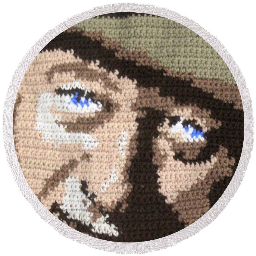 John Wayne Round Beach Towel featuring the digital art Suntan John Wayne by Cathy Marina