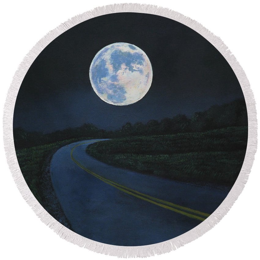 Super Moon Round Beach Towel featuring the painting Super Moon At The End Of The Road by Christopher Shellhammer