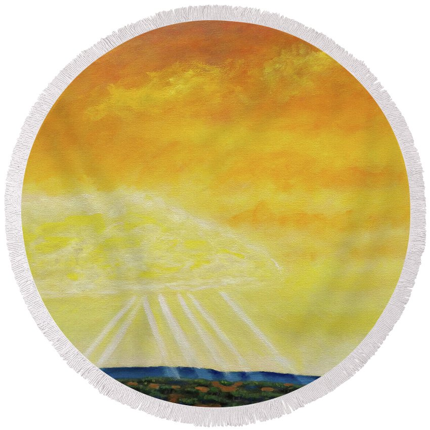 Landscape Round Beach Towel featuring the painting Super Seven by Brian Commerford