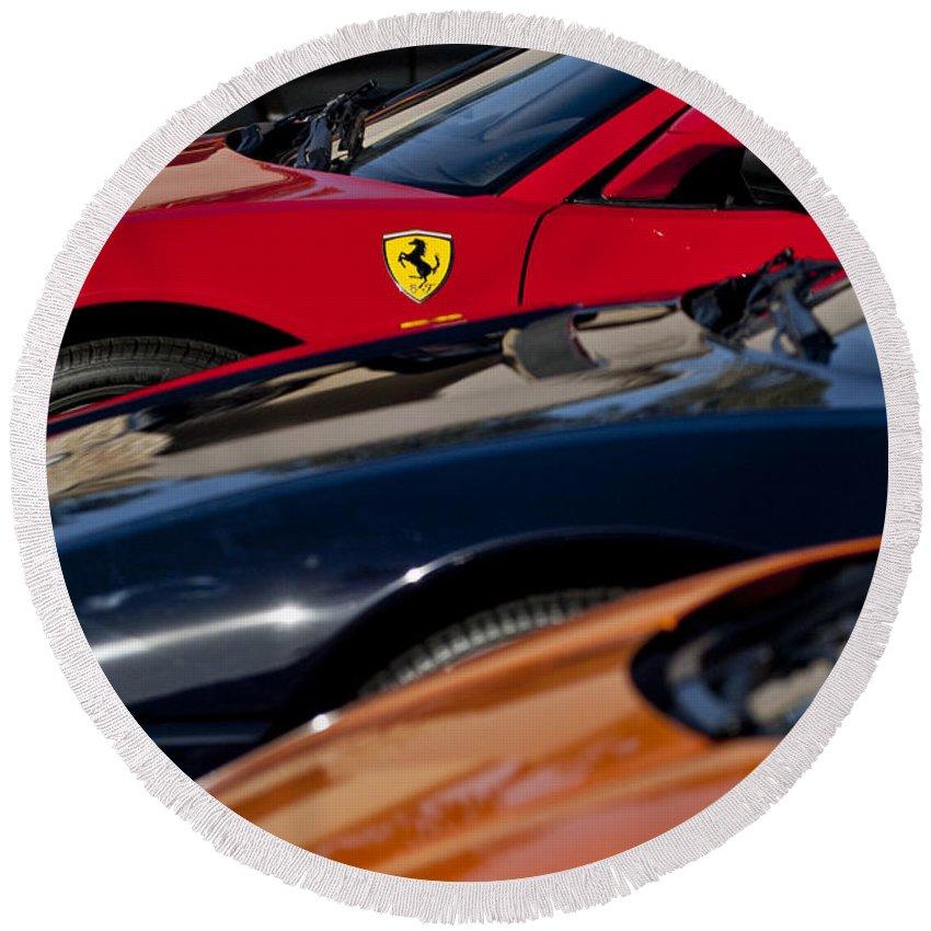 Ferrari Round Beach Towel featuring the photograph Supercars Ferrari Emblem by Jill Reger