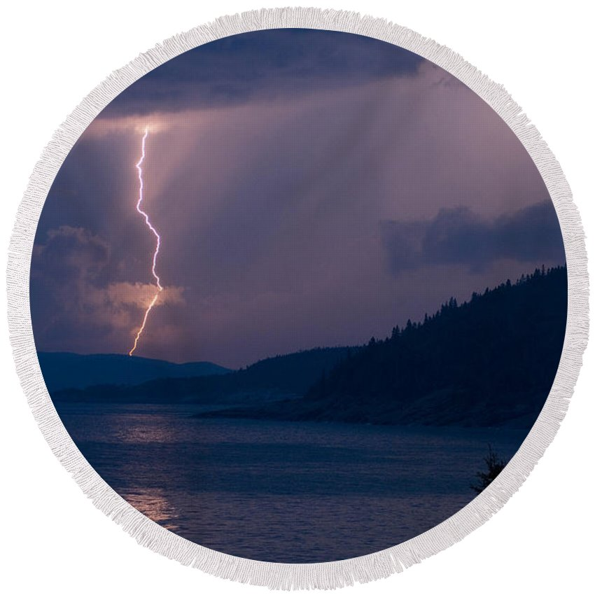 Lake Superior Round Beach Towel featuring the photograph Superior Lightning   by Doug Gibbons