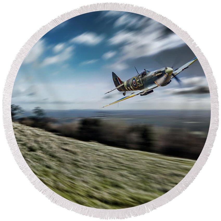 Supermarine Round Beach Towel featuring the digital art Supermarine Spitfire Fly Past by J Biggadike