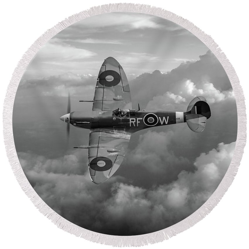 Spitfire Round Beach Towel featuring the photograph Supermarine Spitfire Vb Black And White Version by Gary Eason