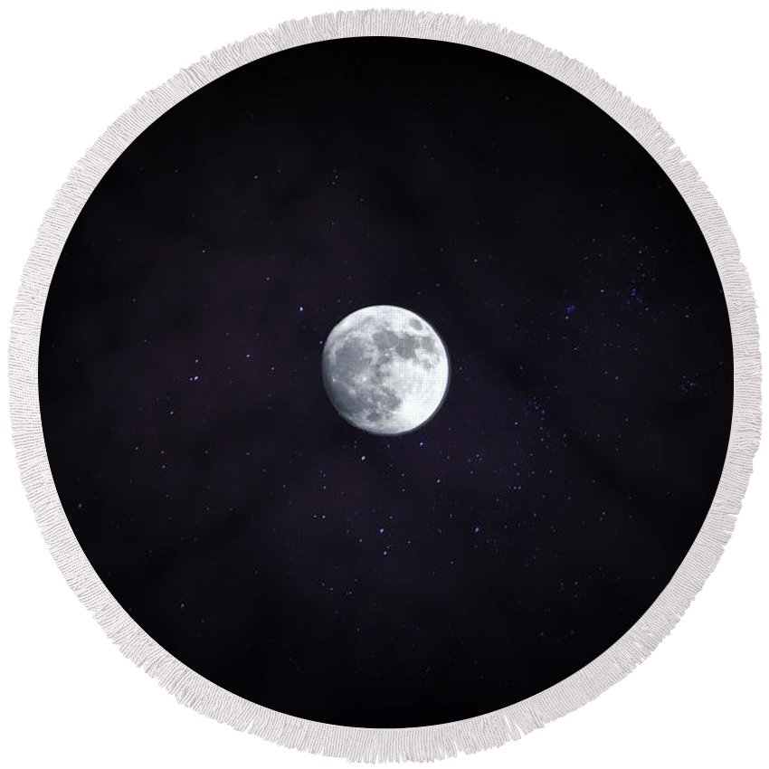Round Beach Towel featuring the photograph Supermoon by Emily Miller