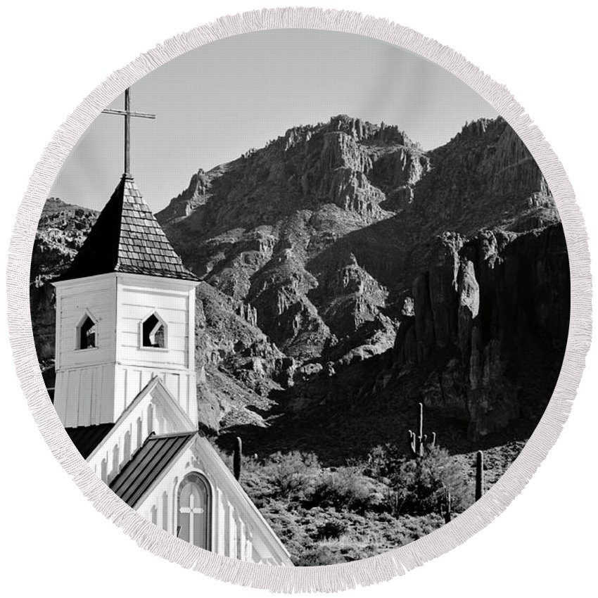Elvis Church Round Beach Towel featuring the photograph Superstition Mountain And Elvis Church by James Jones