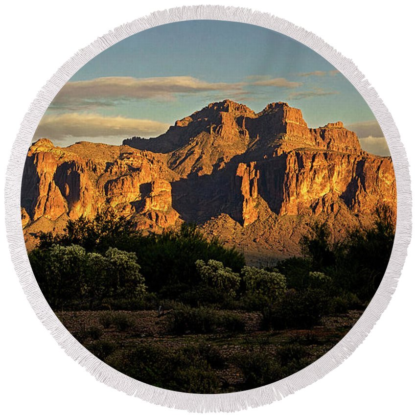 Superstition Mountains Round Beach Towel featuring the photograph Superstitions At Sunset by Saija Lehtonen