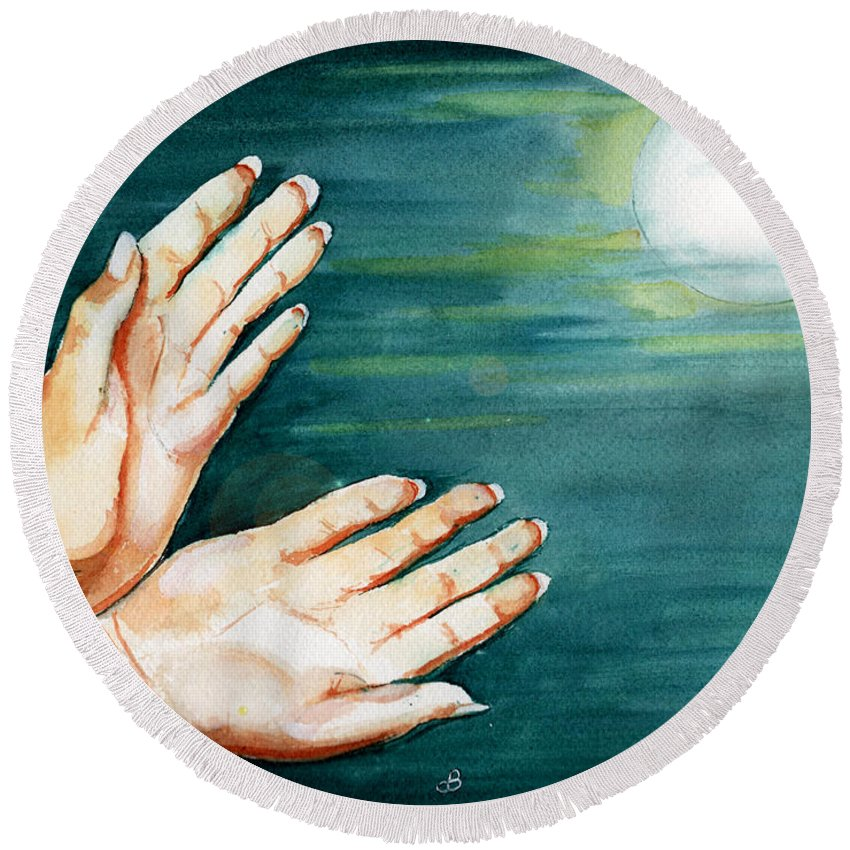 Watercolor Round Beach Towel featuring the painting Supplication by Brenda Owen