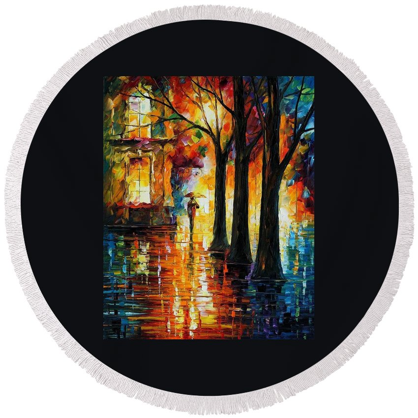 Afremov Round Beach Towel featuring the painting Suppressed Memories by Leonid Afremov
