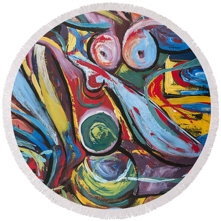 Ecuador Round Beach Towel featuring the painting Suprematismo by Larissa Oksman