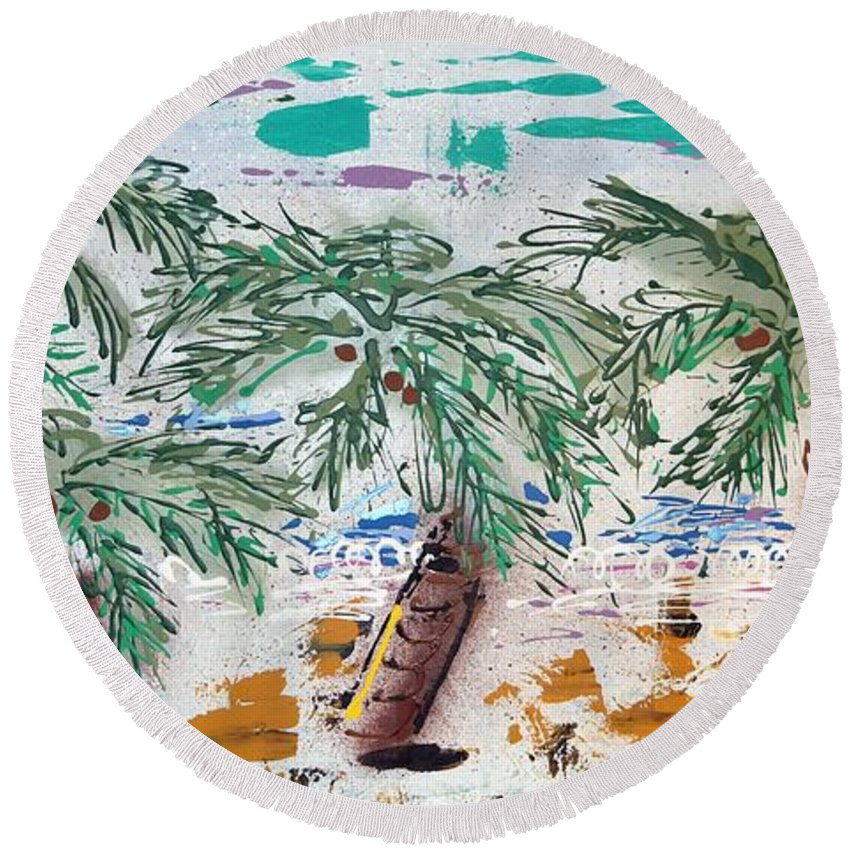 Abstract Round Beach Towel featuring the painting Surf And Palms by J R Seymour