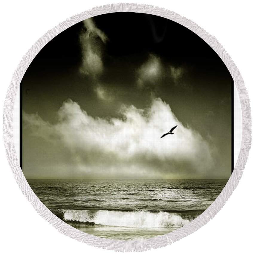 Waves Round Beach Towel featuring the photograph Surf And Sky At Rhos On Sea North Wales by Mal Bray
