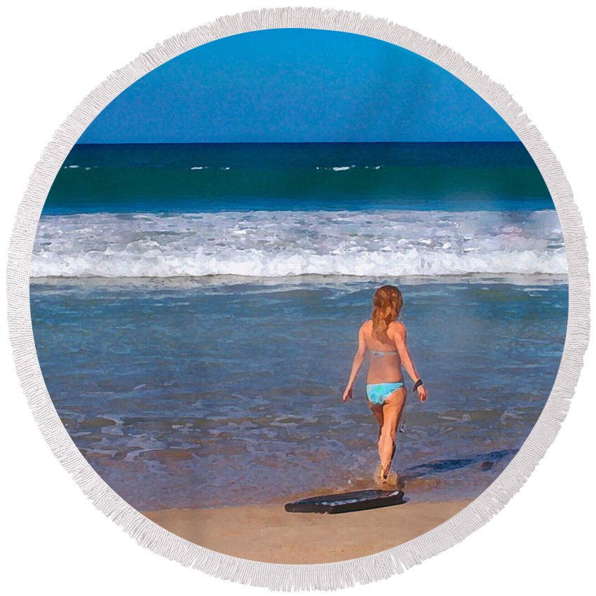 Ocean Round Beach Towel featuring the photograph Surf Up by Athala Carole Bruckner