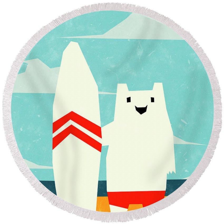 Yeti Round Beach Towel featuring the digital art Surf by Yetiland