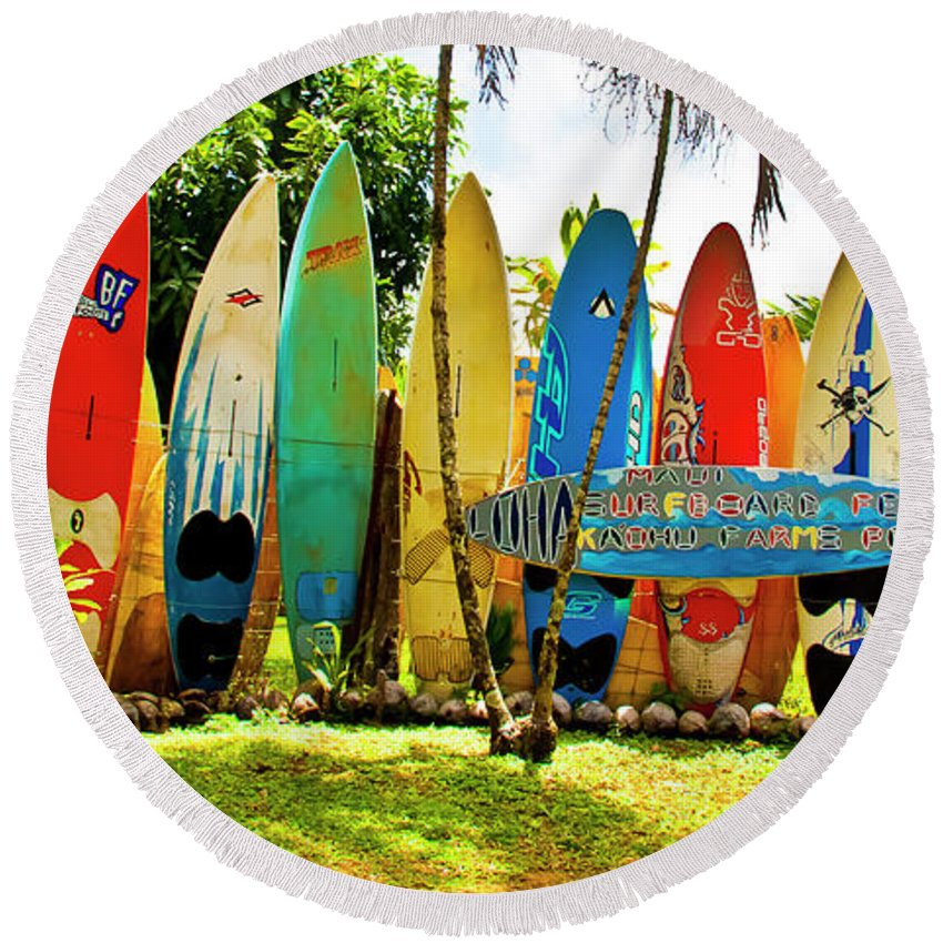 Surfboard Round Beach Towel featuring the photograph Surfboard Fence II-the Amazing Race by Jim Cazel