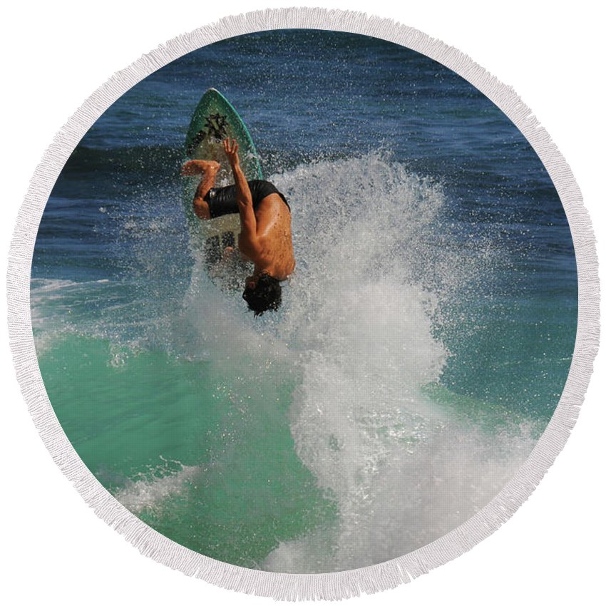 Surfing Round Beach Towel featuring the photograph Surfer Action Hawaii by Janine Claire
