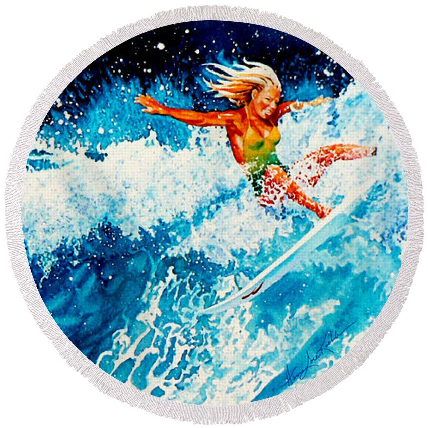 Sports Art Round Beach Towel featuring the painting Surfer Girl by Hanne Lore Koehler