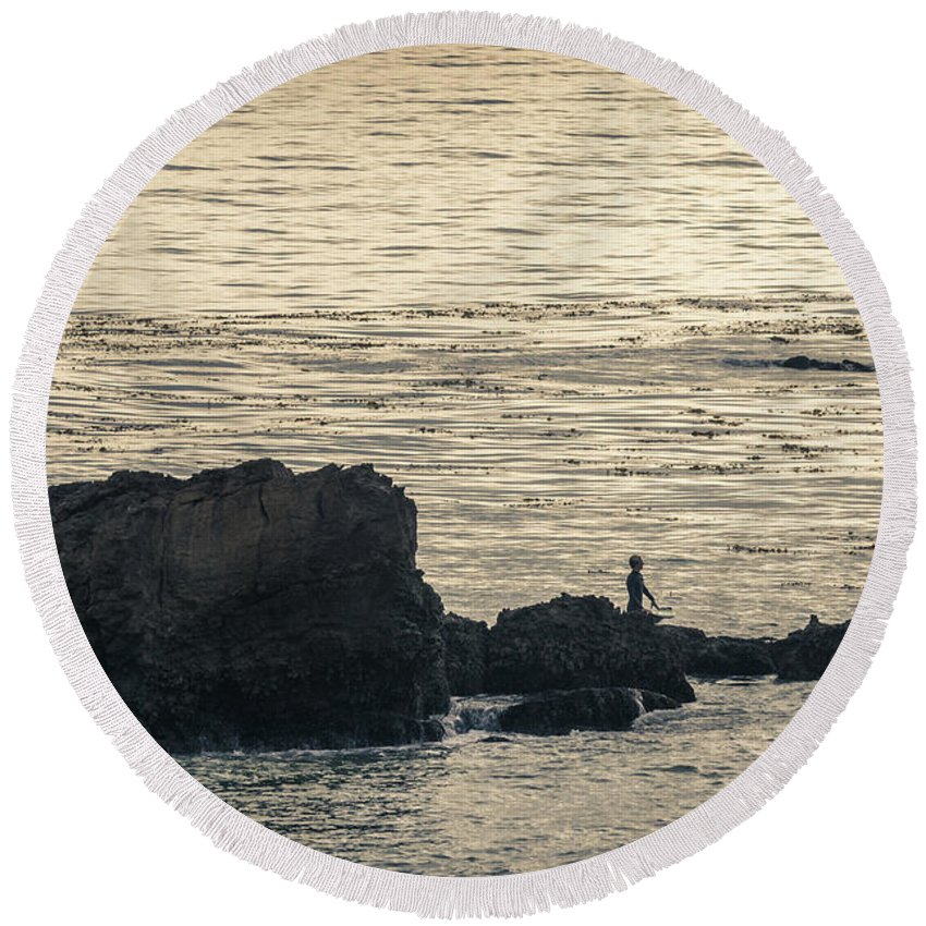 Beach Round Beach Towel featuring the photograph Surfer by Martin Alonso