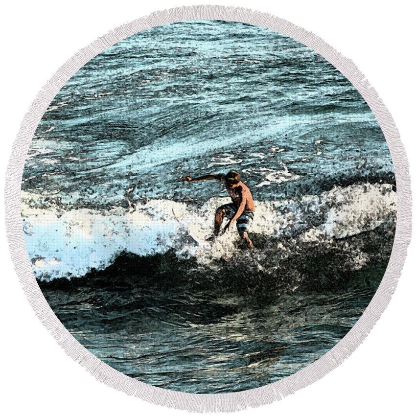 Surfer Round Beach Towel featuring the photograph Surfer On Wave by Gabe Aguilar