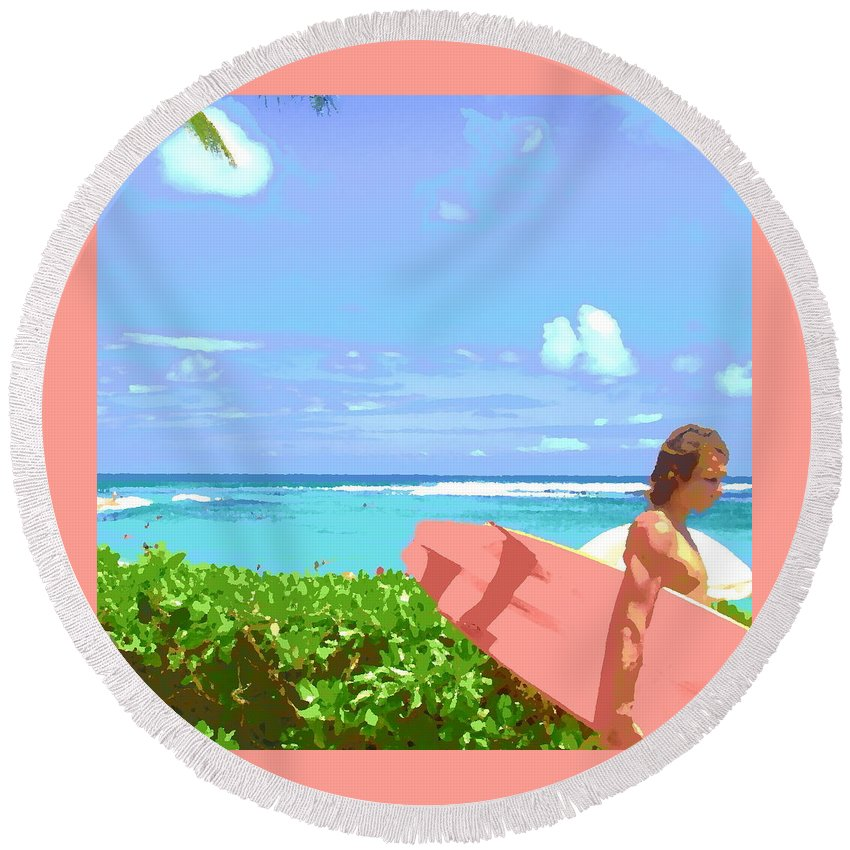 Surf Art Round Beach Towel featuring the digital art Surfer Walking By by Lindsay Ahart