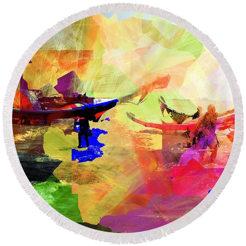 Seaside Round Beach Towel featuring the digital art Surfers by Agnes V