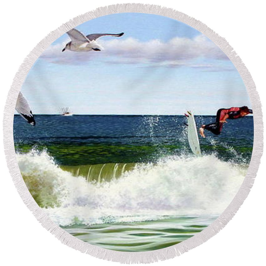Seascape Round Beach Towel featuring the painting Surfers by Michael Nowak