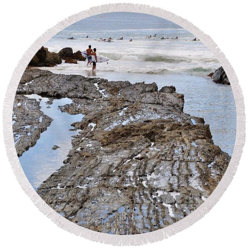Gold Coast Round Beach Towel featuring the photograph Surfers Waterways by Csilla Florida