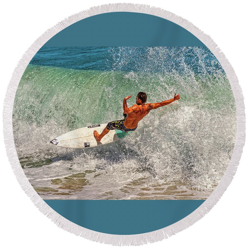 Waves Round Beach Towel featuring the photograph Surfing Action by Davids Digits