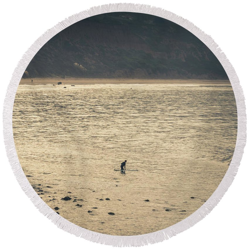 Beach Round Beach Towel featuring the photograph Surfing At Leo Carrillo Beach by Martin Alonso
