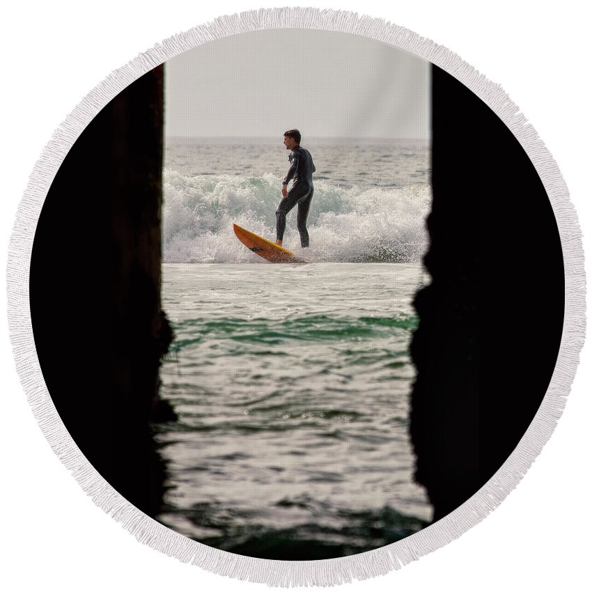 Surfing Round Beach Towel featuring the photograph Surfing By The Pier by Nicole Swanger