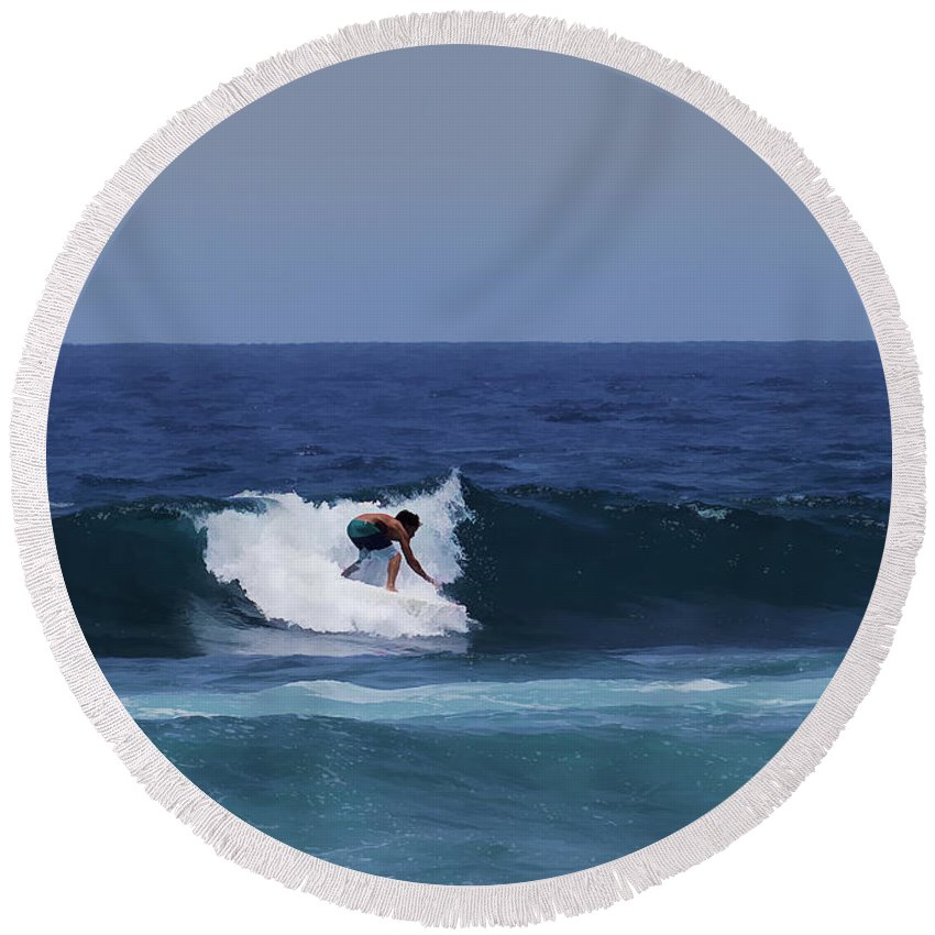Surfing Round Beach Towel featuring the photograph Surfing The Waves by Pamela Walton