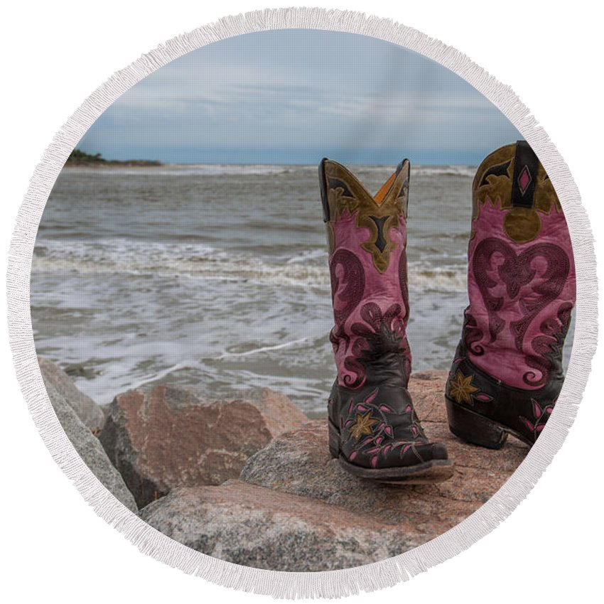 Cowgirl Boots Round Beach Towel featuring the photograph Surf's Up by Dale Powell