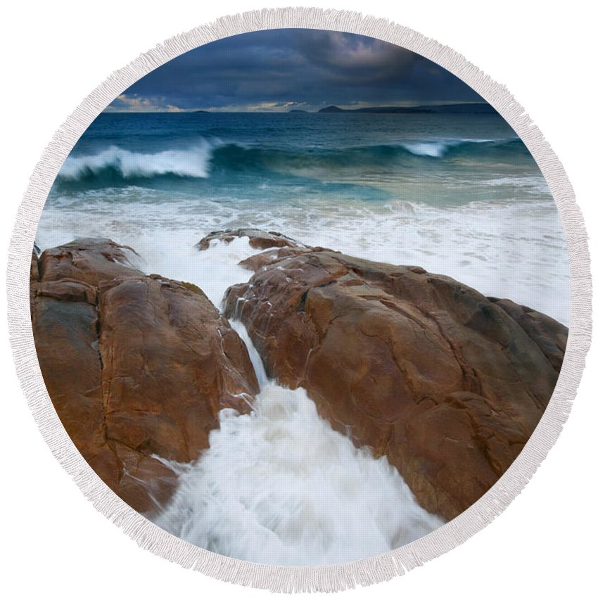Waves Round Beach Towel featuring the photograph Surfs Up by Mike Dawson