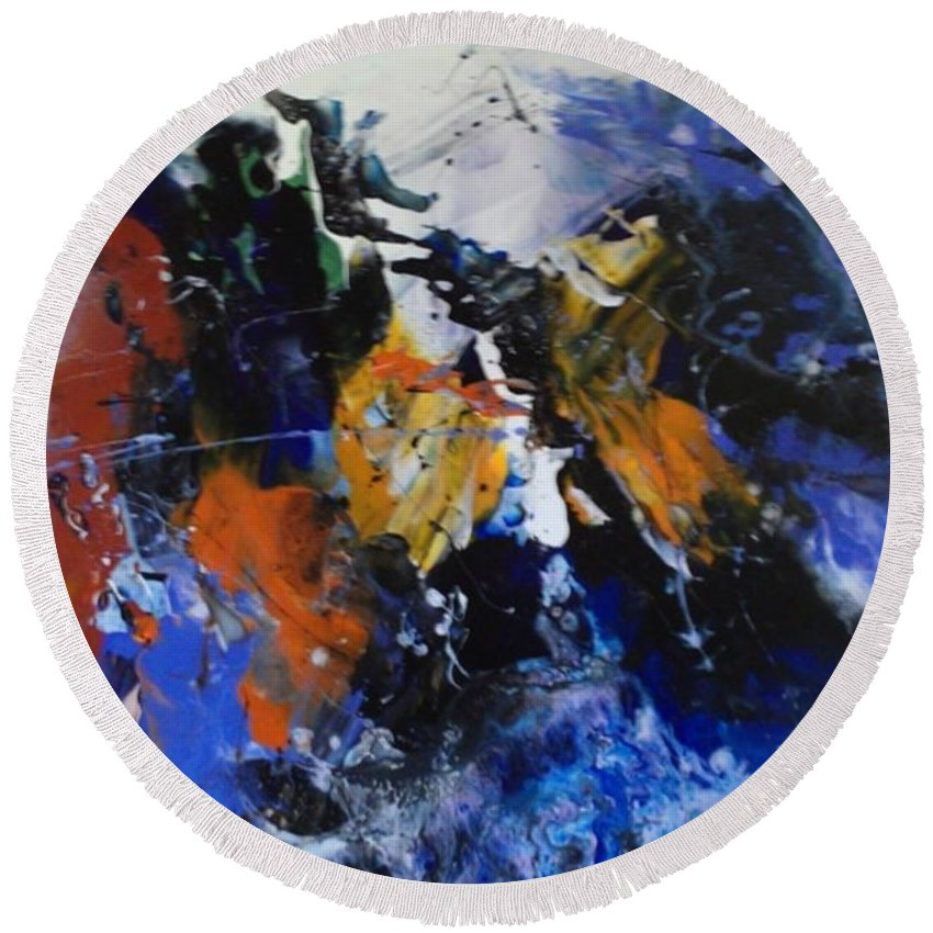 Acrylic.abstract Round Beach Towel featuring the painting Surge by John Cocoris