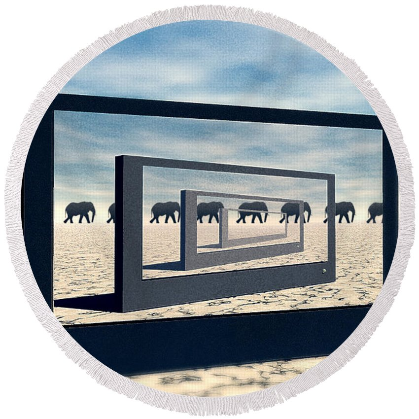 Surreal Round Beach Towel featuring the digital art Surreal Elephant Desert Scene by Phil Perkins